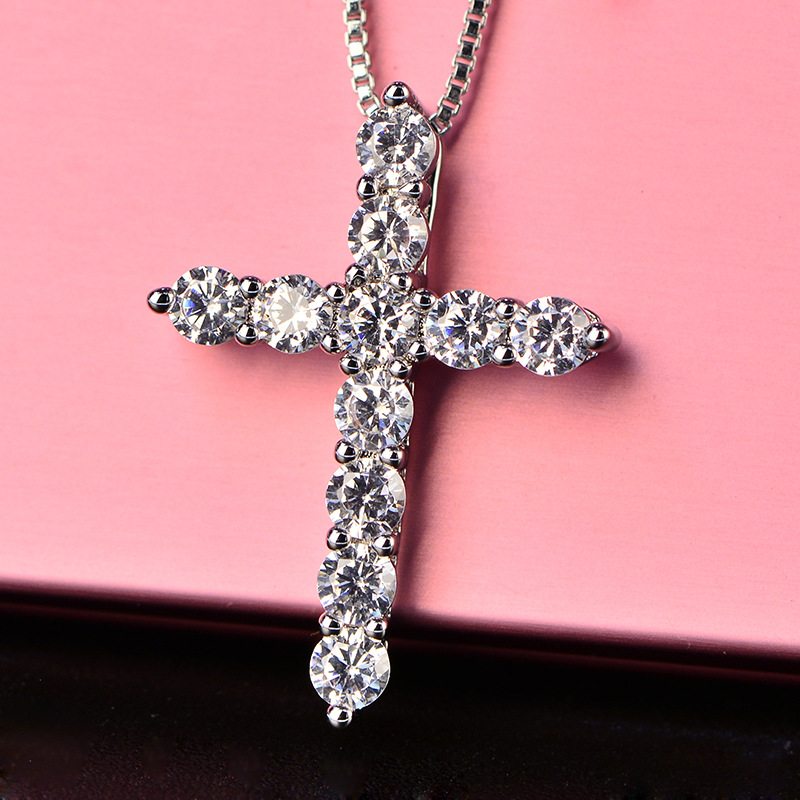 HTB1Ks5nxIuYBuNkSmRyq6AA3pXaD - Lucky Female Cross Crystal Pendants Silver Color Chain Necklaces Shiny Zirconia Choker Necklaces Fashion Jewelry Gifts For Women