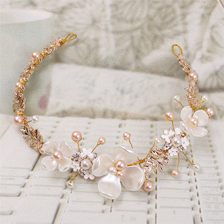 Gold Leaf Shell Flower Handmade Bridal Headband Baroque Ceramic Pearl Wedding Hair Vine Tiara Crown Brides Hair Accessories цена