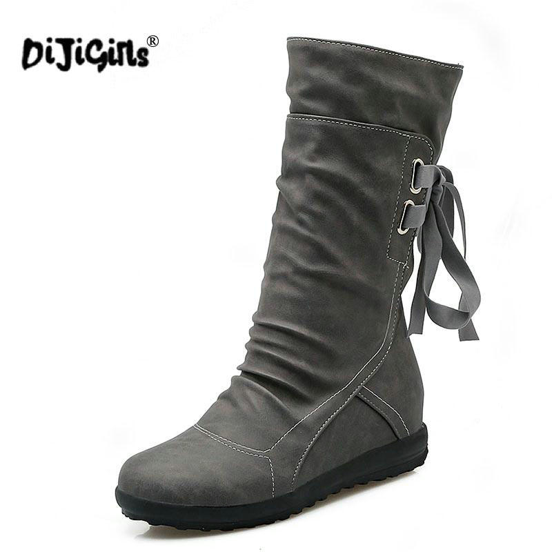 DIJIGIRLS Women Winter Snow Boots Mid-Calf Solid Flats Winter PU Boots Women Warm Plush Boots Ladies Boots Plus Size 34-43