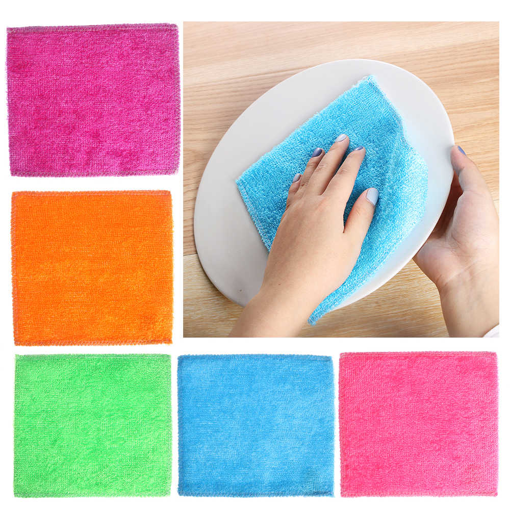 1PC Magic Bamboo Fiber Anti-grease Dish Cloth Washing Towel Kitchen Household Scouring Pad Cleaning Rags Accessories for Home