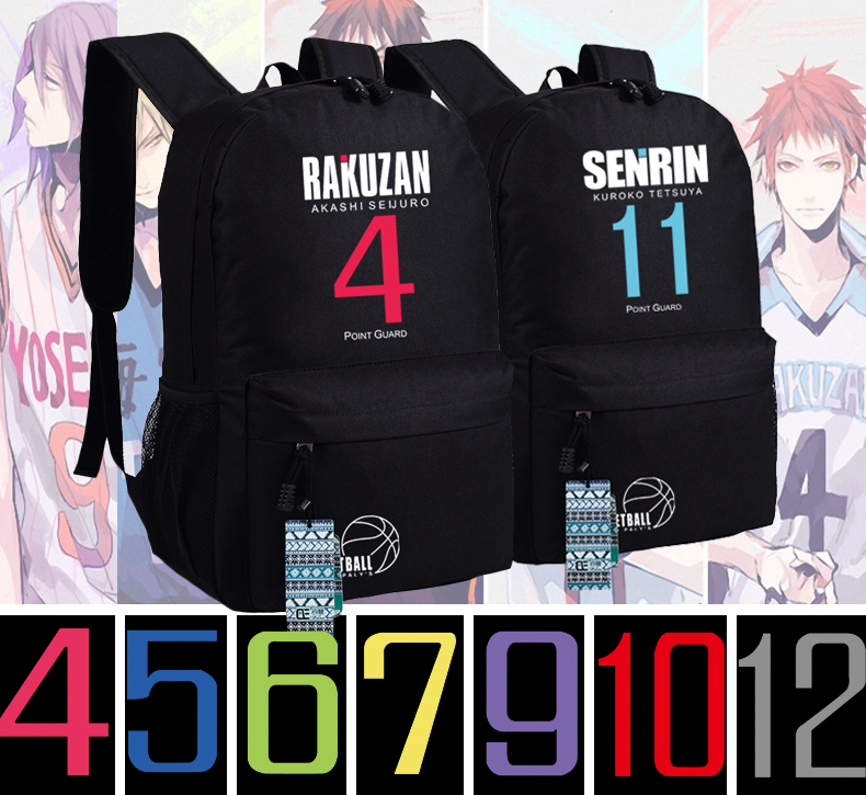 Free shipping Top Anime Kuroko no Basket canvas Korean casual canvas man woman bags Backpacks number 11 12 4 schoolbag free shipping korean version candy colors fairy tail logo printing man woman canvas schoolbag red green black blue backpacks
