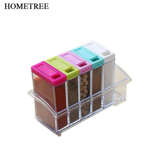 HOMETREE 6Pcs/set High Quality Transparent Spice Box Seasoning Box Salt Pepper Jar Flavouring Condiment Herb Spice Tools H586