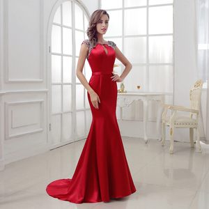 Image 3 - Elegant Burgundy Mermaid Evening Dresses 2020 Long Satin with Crystal Beaded Sexy V Back Court Train Formal Party Gowns OL286