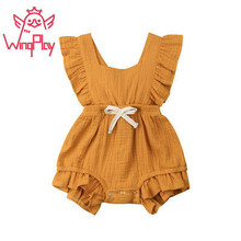 2019 New Summer Baby Girl Clothes Solid Linen Baby Girl