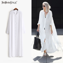 [TWOTWINSTYLE] 2017 Summer Long Sleeves Shirt Dress Women Sides Slit Buttons Multi Way to Wear New Clothing Black White Fashion