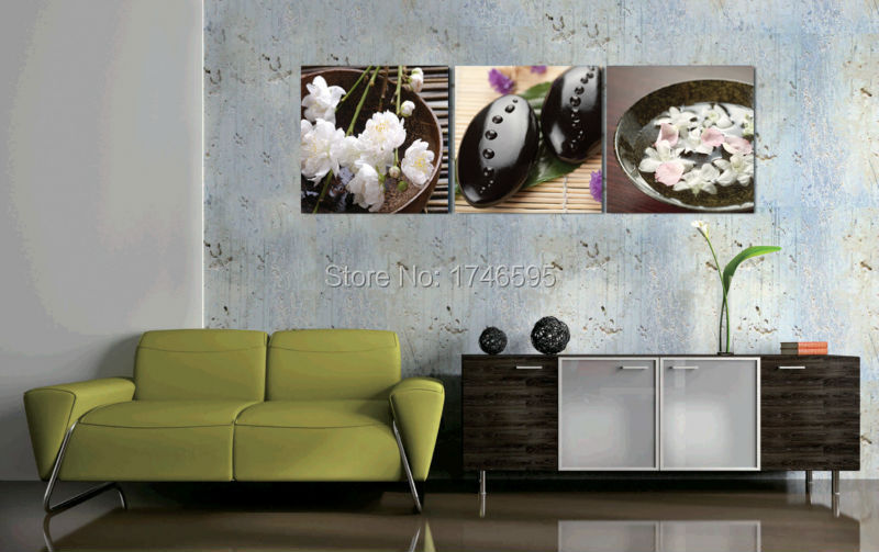 Big 3pcs Home Wall Art Decor White Peach Blossom Canvas Picture Living Room Dining Printed Painting