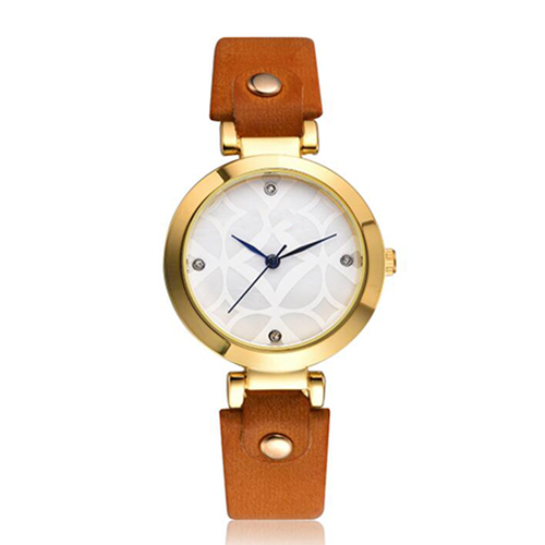 Femme mode bracelet en cuir analogique Quartz rond montre-bracelet montres filles or dames offre spéciale fleurs