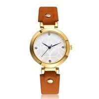 Woman Fashion Leather Band Analog Quartz Round Wrist Watch Watches Girls Gold ladies Hot Sale Flowers
