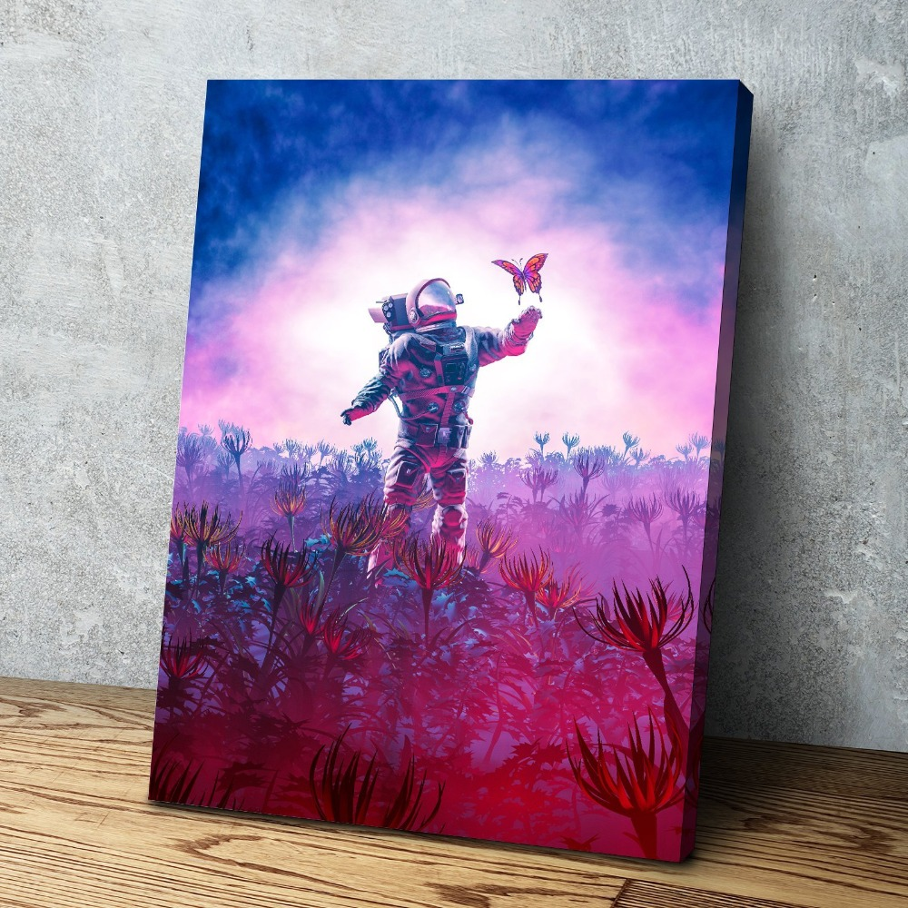 Nordic Picture Poster Curious Astronaut Traveler Cuadros Decoracion Paintings on Canvas Wall Art for Home Decorations Wall Decor in Painting Calligraphy from Home Garden