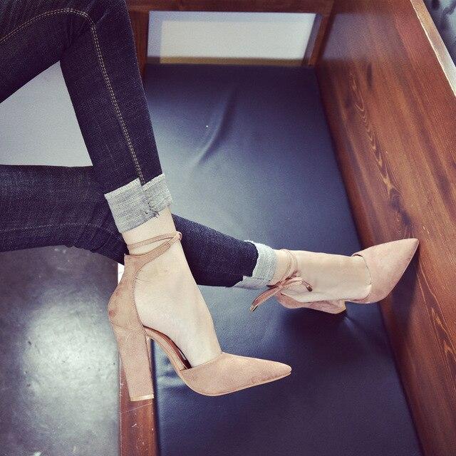 2018 spring new women shoes basic style retro fashion high heels 1