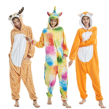 2019 Winter Unisex Unicorn Pajamas Kigurumi Animal Pyjamas Women Adult Onesies Cosplay Flannel Stitch Onesie Sleepwear Wholesale