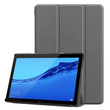 Silicone Case For Huawei Mediapad T5 10in Smart Magnetic Trifold Leather Flip Case Stand Cover For Huawei Mediapad T5 10in#G4(China)