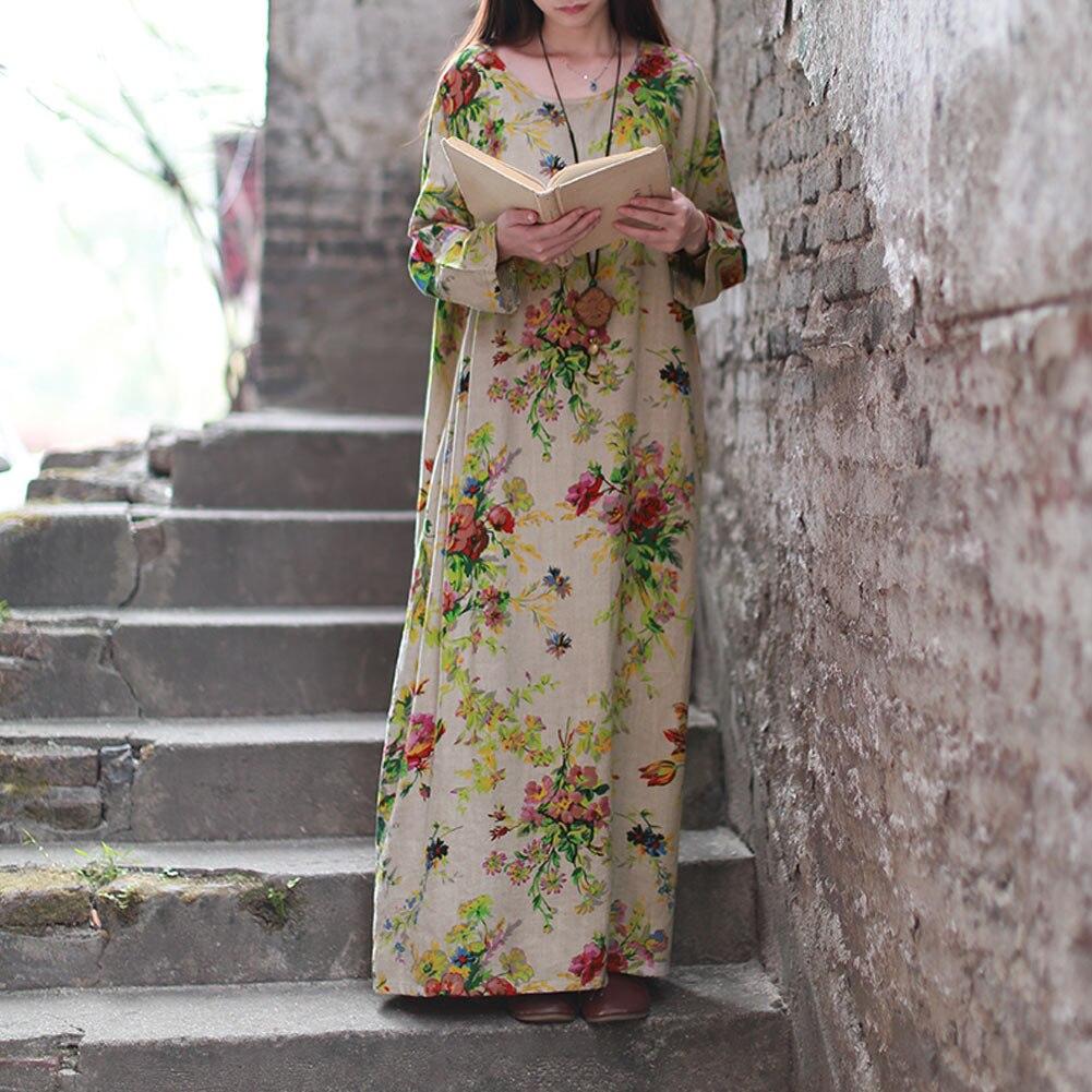 EaseHut 19 New Vintage Women Maxi Floral Dress Plus Size Long Sleeves Pockets O Neck Cotton Linen Loose Robe Dresses vestidos 6