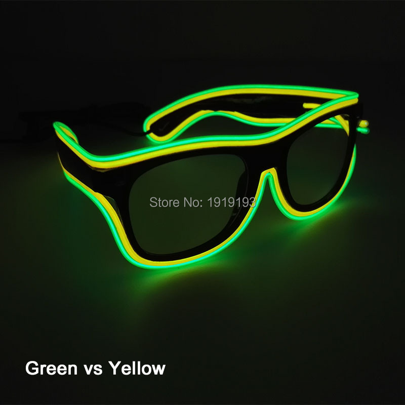 High quality 6type Colorful EL Wire Neon LED Light Up Glasses holiday lighting SunGlasses for DJ dance Ball Party Decoration