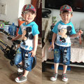 For summer 2016 new summer boy children clothing set baby boy hooded T-shirt +jeans pants sport suit