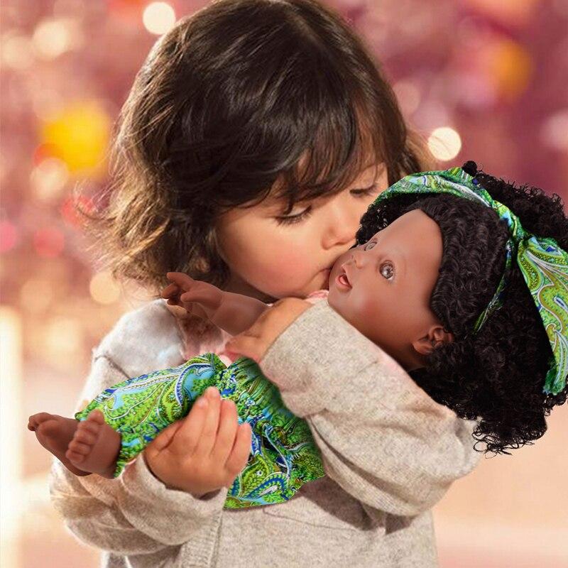 Africa Baby Dolls 30CM With Fashion Cute Headwear Lively Clothes Baby Reborn Gift Black Dolls Black Wavy Hair Dolls Curls Dolls in Dolls from Toys Hobbies