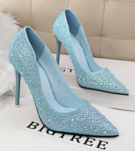 Las Sparkly Diamond Pointed Toe Wedding Shoes Woman Rhinestone Stilettos Y Silver Gold Blue Party Bridal High Heels Pumps In Women S From