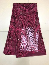 Pink lace Tulle Lace Fabric High Quality Beaded Beautiful Applique Nigerian For Wedding XX