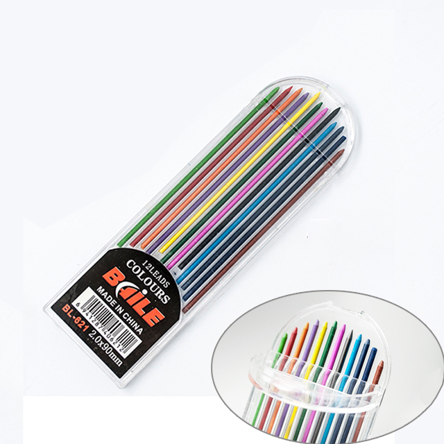12pcs pack 2 0mm Colored Pencil Lead 2B Mechanical Pencil Refills Core for Art School Diy Drawing Writing Supplies Stationery in Pen refill from Office School Supplies