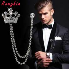 Broches Vintage de corona y insignia para hombre y mujer, broches de diamantes de imitación, cadena de cristal, pines de solapa, perno de la solapa para fiesta