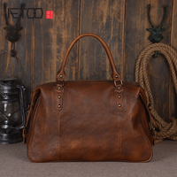 AETOO Fashion new imports of the first layer of vegetable tanned leather travel bag hand Sassafras men and women portable travel