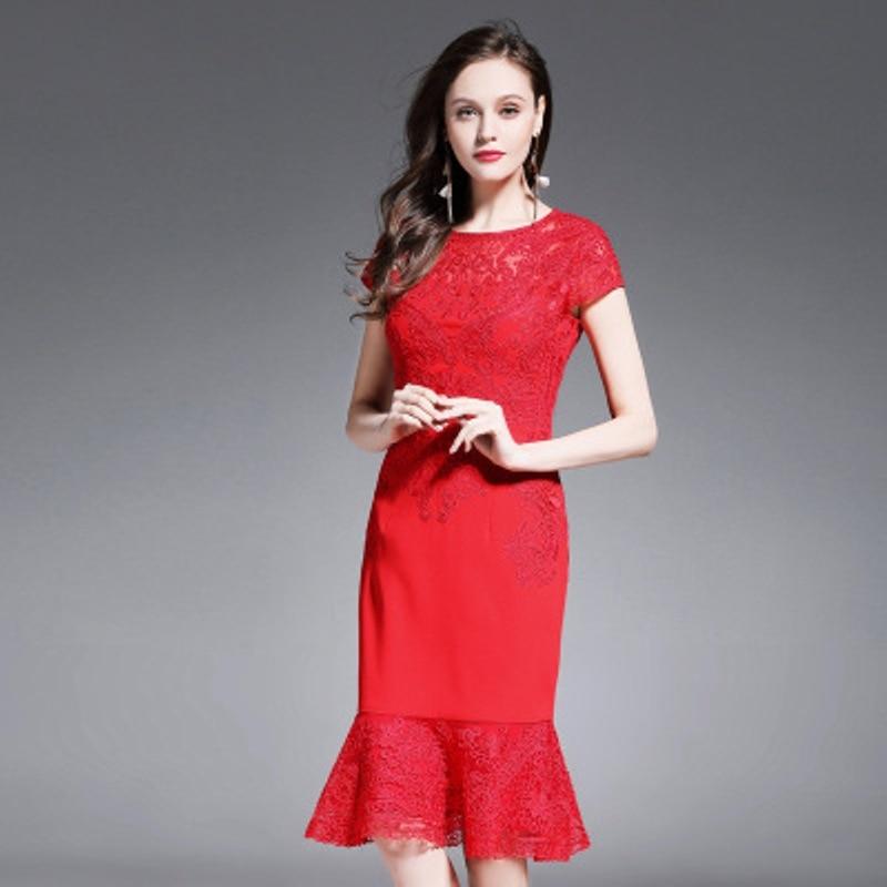 Work Office dress 2018 NEW Superior quality Spring summer elegant women Mermaid plus size M L