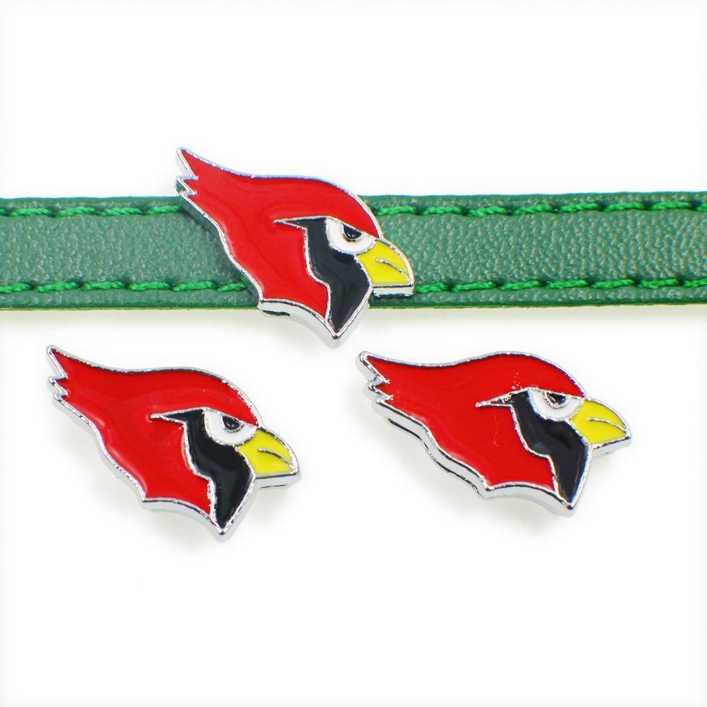 20PCS 8MM Enamel Slide Charm Jewelry American Football Arizona Cardinals For DIY Slide Charms Necklace & Bracelet