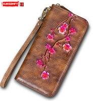 Retro first layer cowhide ladies handbag Women Long wallet female handmade genuine leather flowers wallet female long zipper bag