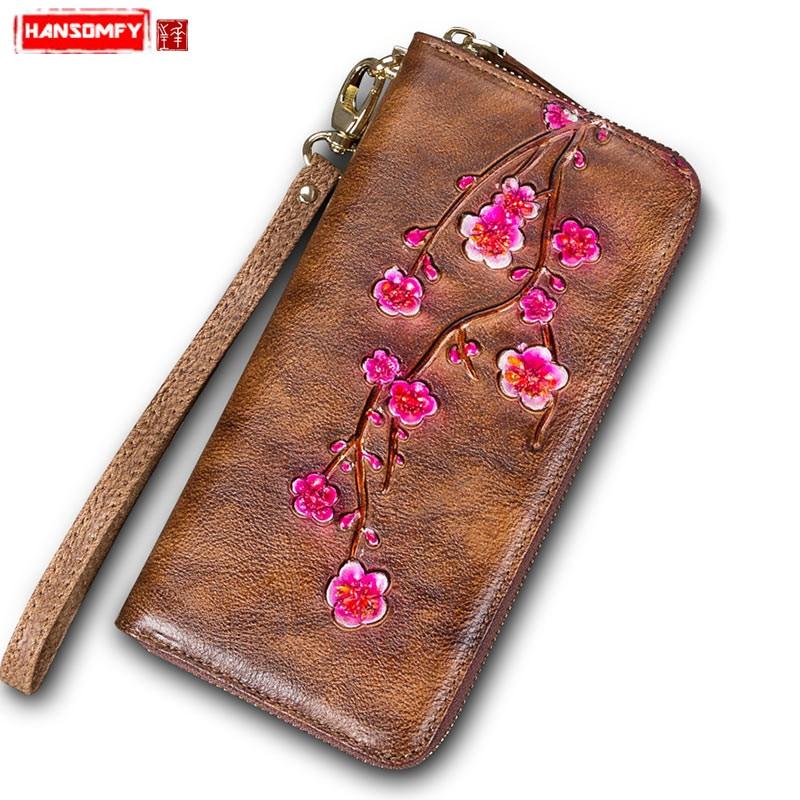 Retro first layer cowhide ladies handbag Women Long wallet female handmade genuine leather flowers wallet female