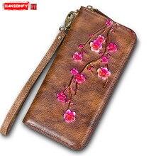 Ретро первый слой яловая женская сумка женский длинный кошелек женский ручной работы из натуральной кожи цветы кошелек женский длинный кошелек на молнии