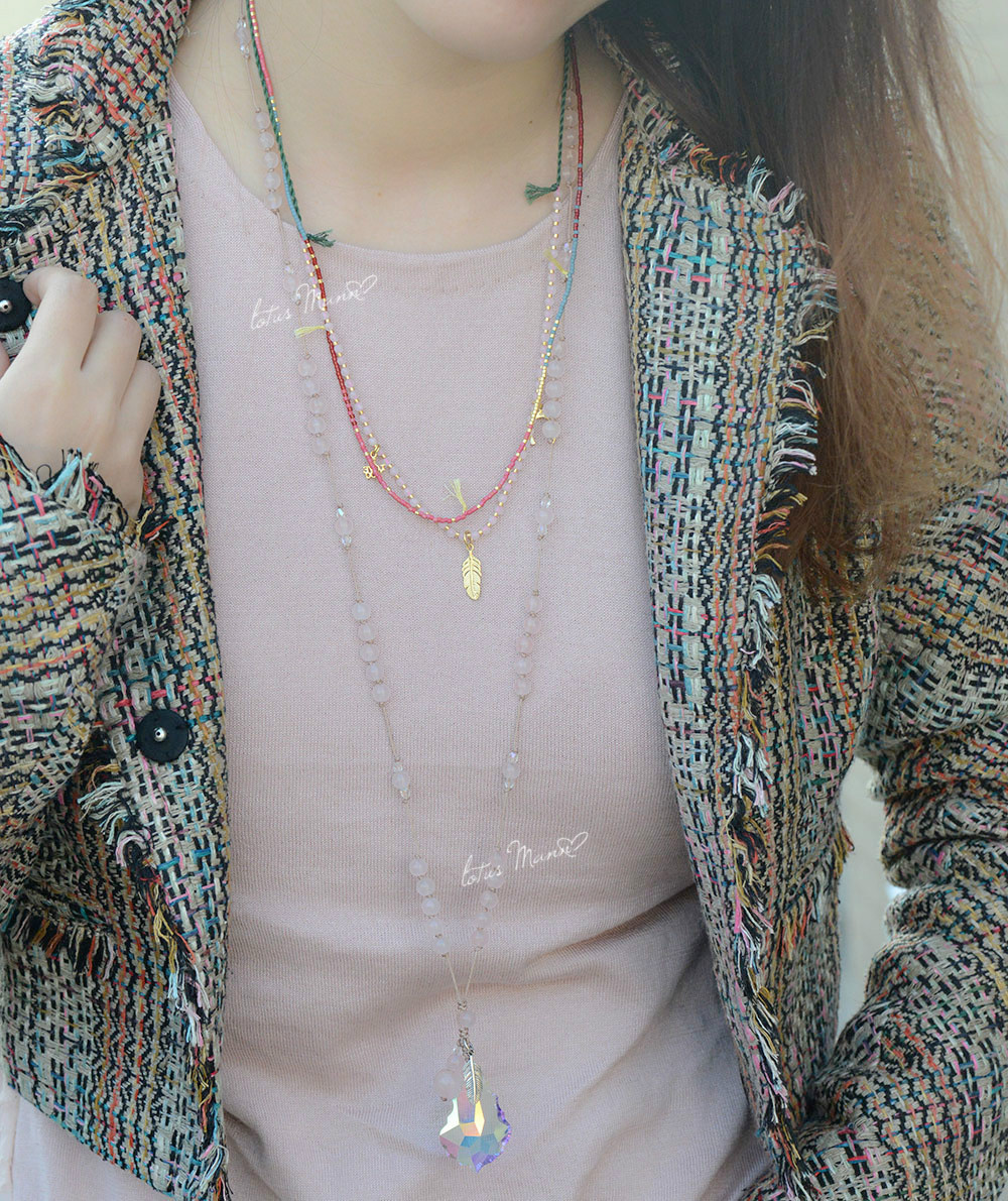 Lotus Mann Free love and lucky pinky Bohemia crystal color multielement double necklace
