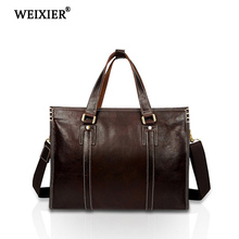 WEIXIER 2019 Solid Color Genuine Leather Large Capacity High Quality Business People Soft Mens Exquisite Classic Design Handbag