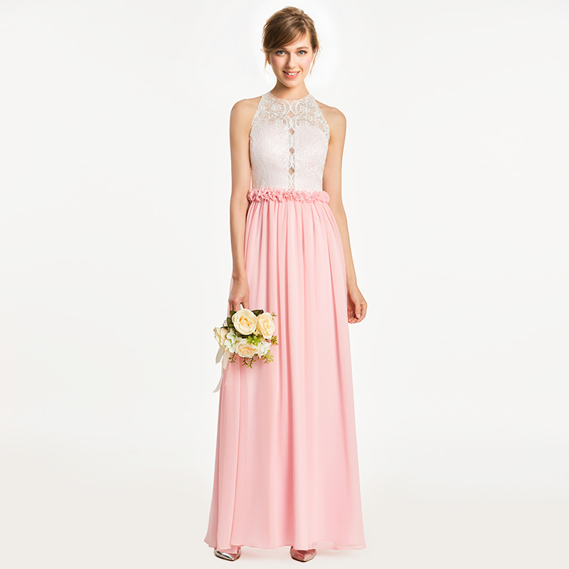 Tanpell scoop   bridesmaid     dress   pink sleeveless floor length a line gown women wedding party graduation long   bridesmaid     dresses