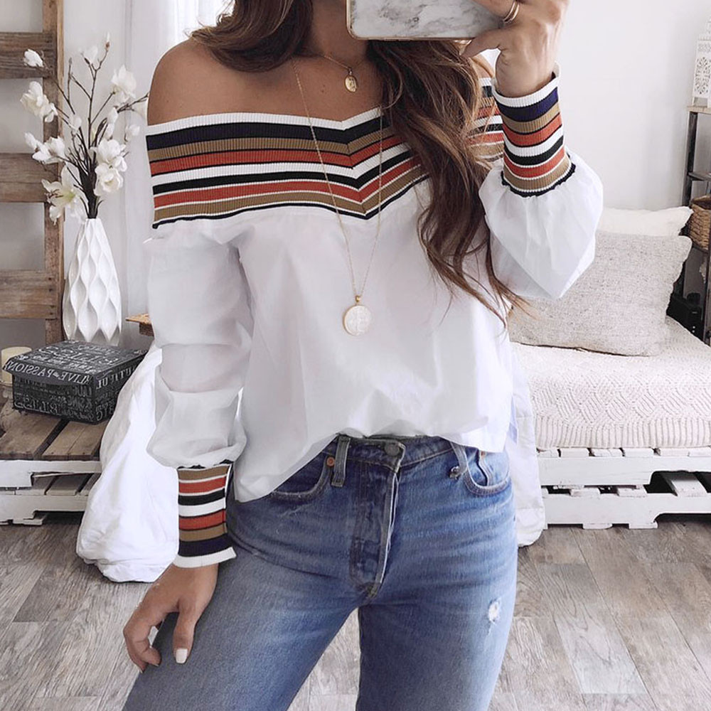 Frauen Herbst Casual Mehrfarbige Langarm Off Schulter Top Bluse blusas mujer de moda #20181013 plus größe