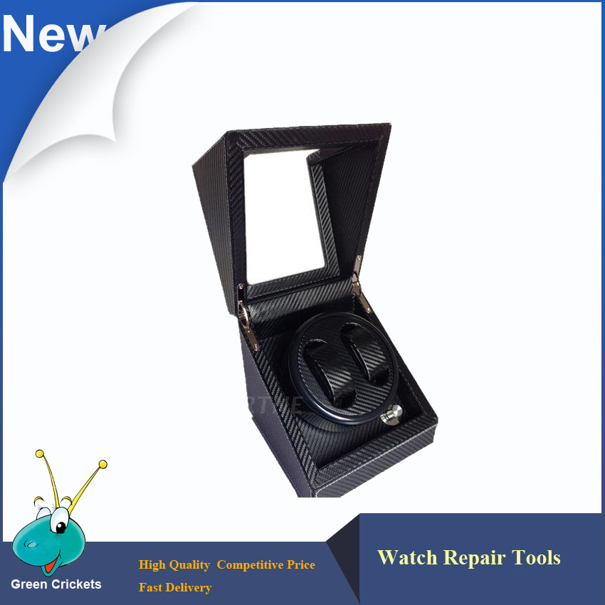 New Arrival Black Color Carbon fibre Wood Watch Winder,German Ultra Quiet 5 Modes Watch Winder ultra luxury 2 3 5 modes german motor watch winder white color wooden black pu leater inside automatic watch winder