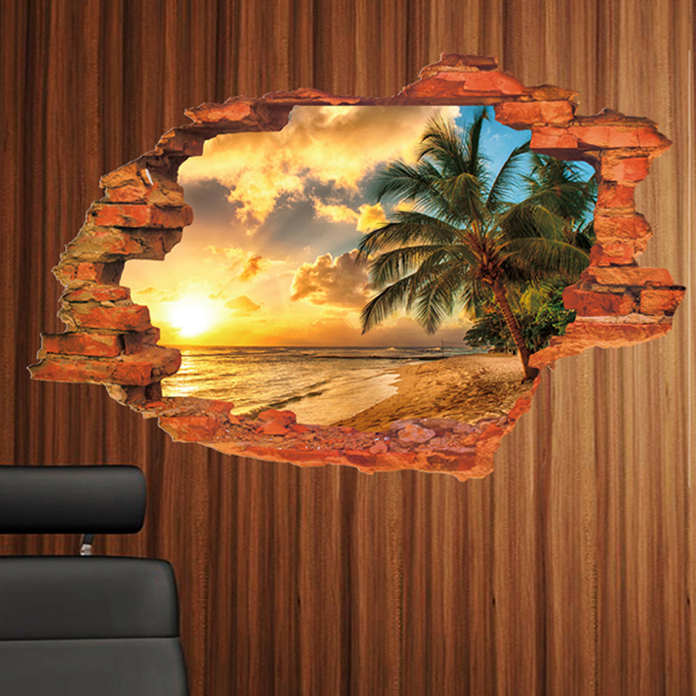 Creative home decor 3d wall stickers broken wall style for 3d wall art wallpaper