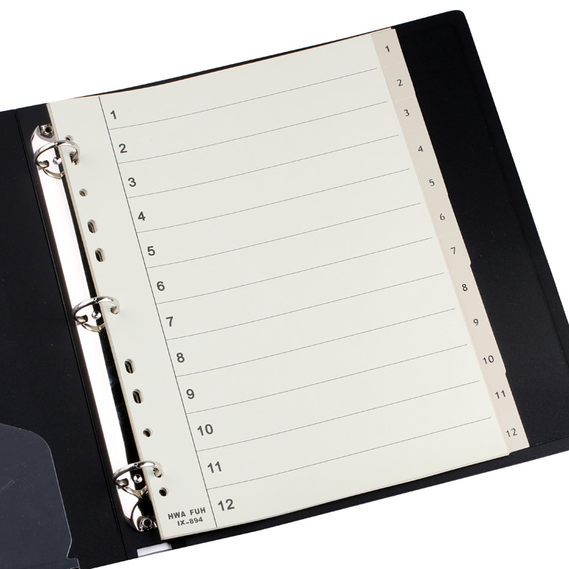 HFYP IX-894 Sorting Card Classify Binder Index Dividers Paper Card PP 11 Holes Number 1-12 12 Sheets/bags Folder Attachments