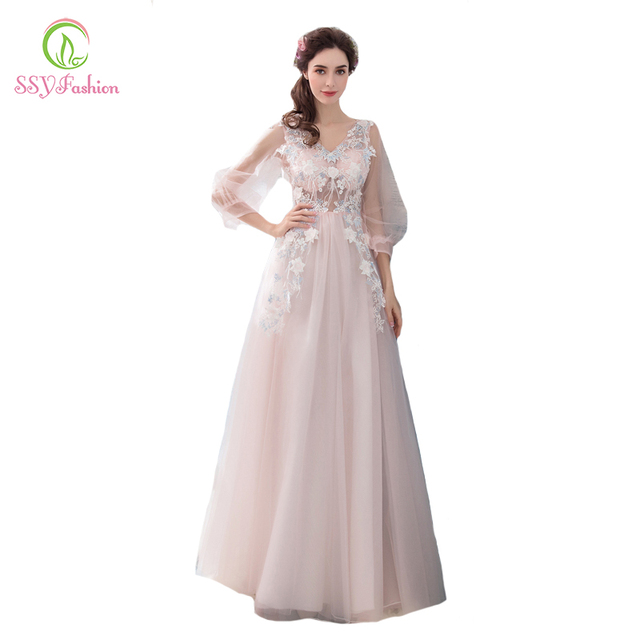 SSYFashion New Sweet Pink Evening Dress V-neck Long Sleeved Lace Appliques  Floor-length Prom Party Formal Gown Robe De Soiree 5317a1830f71