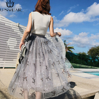 U SWEAR 2018 spring and summer new super heavy leaves embroidered mesh yarn fairy pettiskirt long Tulle skirts women
