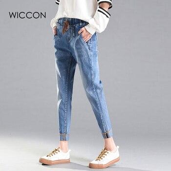 83da2f5b8 WICCON Primavera calças jeans femininas soltas pés Com Cordão Elástico Na  cintura do vintage calça jeans harem pants Casuais streetwear mulheres  Vaqueros