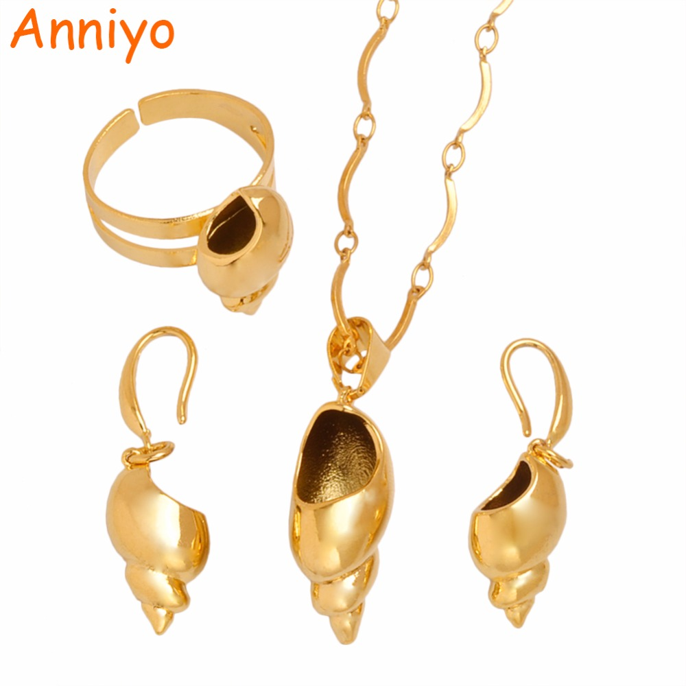 Anniyo PNG Conch Pendant Necklaces Earrings Ring for Women,Papua New Guinea Shell Jewelry Gold Color Snails #101606