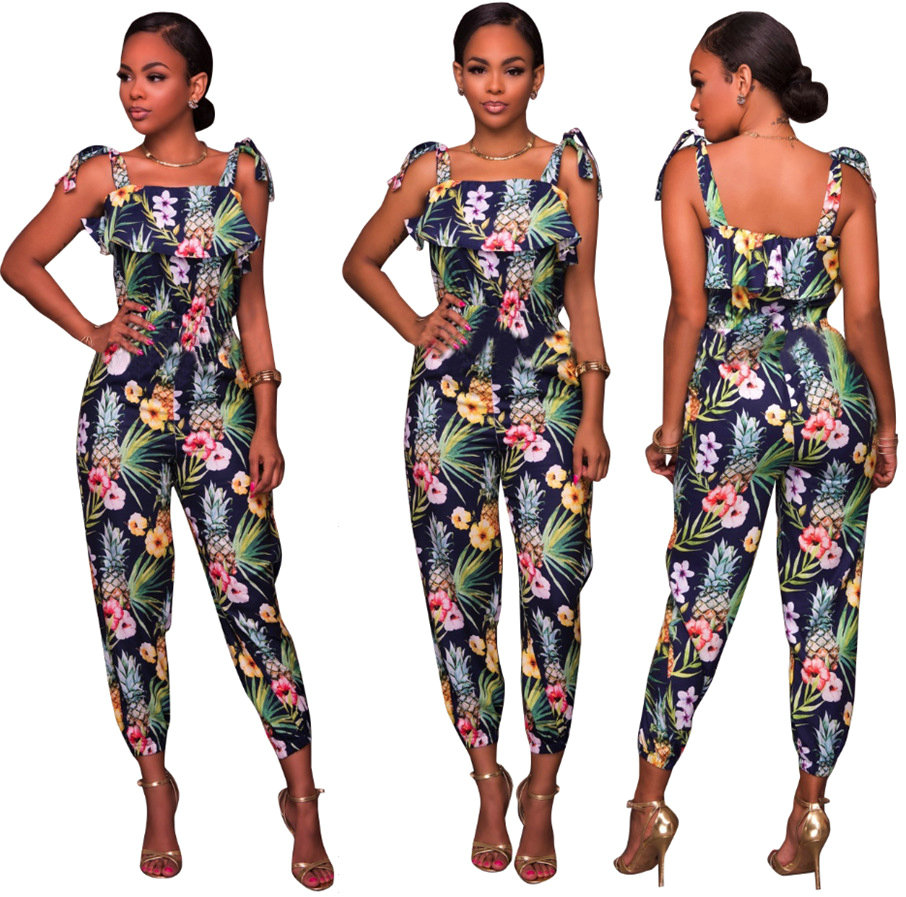 Europe and America Sexy Suspenders Jumpsuit Charming Stylish Ankle-Length Pants Autumn2017 Elegance Ruffles Women Cat Suit