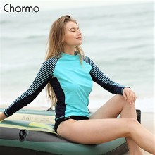 Charmo 2019 Women Long Sleeved Rashguard Swimwear Striped Rash Guards Patchwork Surfing Swimsuits For Running Top UPF50+