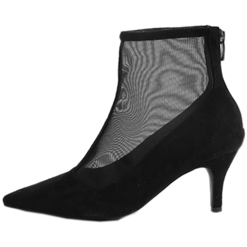 Pointed mesh short boots women 2018 new hollow stiletto heel zipper summer and autumn breathable sandals Female single boots in Ankle Boots from Shoes