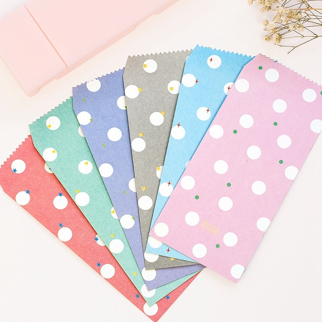 5pcs/lot Cute Cartoon Kawaii Candy Colors Wave Point Envelope