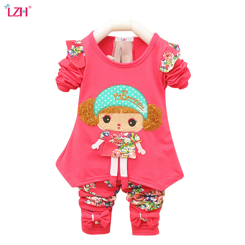 LZH Newborn Baby Clothes Set 2017 Autumn Winter Baby Girls Clothes T-shirt+Pant 2pc Outfits Kids Baby Girls Suit Infant Clothing