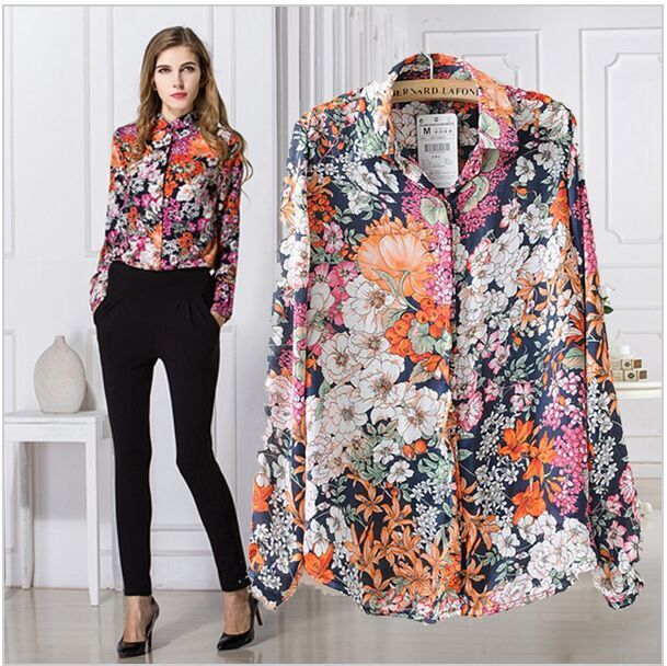 Aliexpress.com : Buy 2015 Fashion Flower Printed Blouse Chiffon in ...