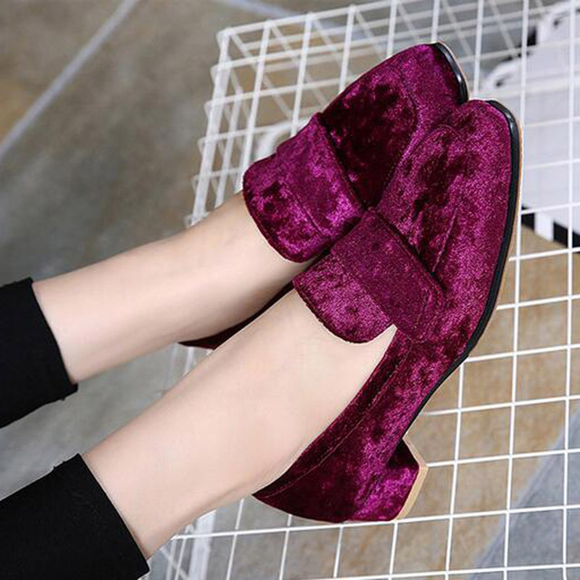 HEE GRAND British Style loafers Casual Velvet Shoes Woman 2017 Slip On Flats Oxfords Platform Women Shoes Size 35-40