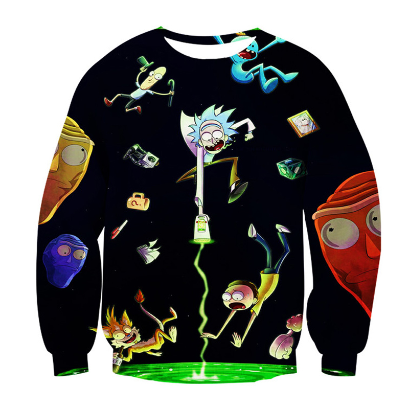 Rick And Morty Hoodie 3d Sweatshirt Unisex Long Sleeve Tee Tops Men Women Cartoon Sweat Homme Tracksuit Hip Hop Streetwear