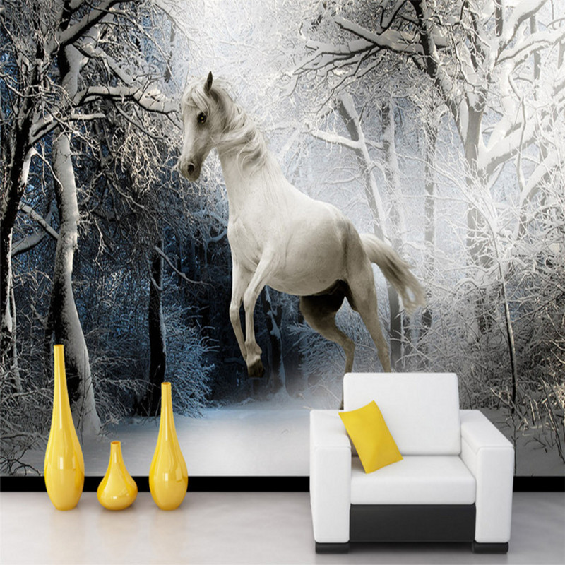 custom modern 3d photo high quality non-woven mural wallpaper horse background wall bedroom mural wallpaper home decor home decor non woven fabric 3d wallpapers modern wallpaper good lightfastness durable bedroom decor white grey pink 53x1000cm